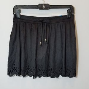NWT Black Justice Suede Like Lazer Cut Skirt